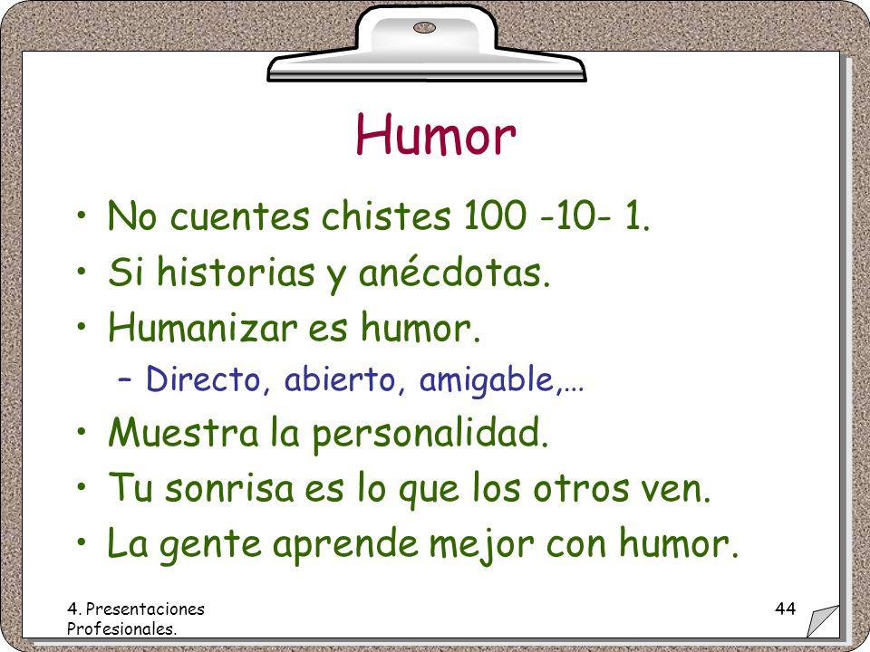 4. Presentaciones Profesionales. 44 Humor No cuentes chistes 100 -10- 1.