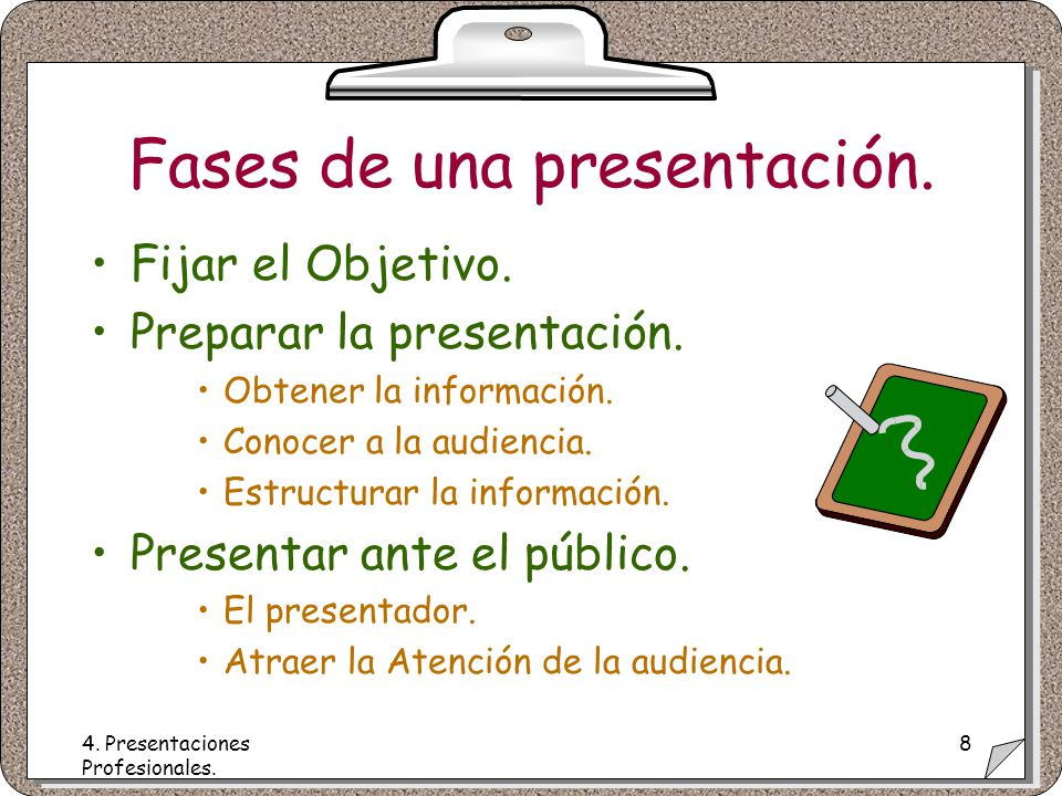 4. Presentaciones Profesionales. 8 Fases de una presentación.