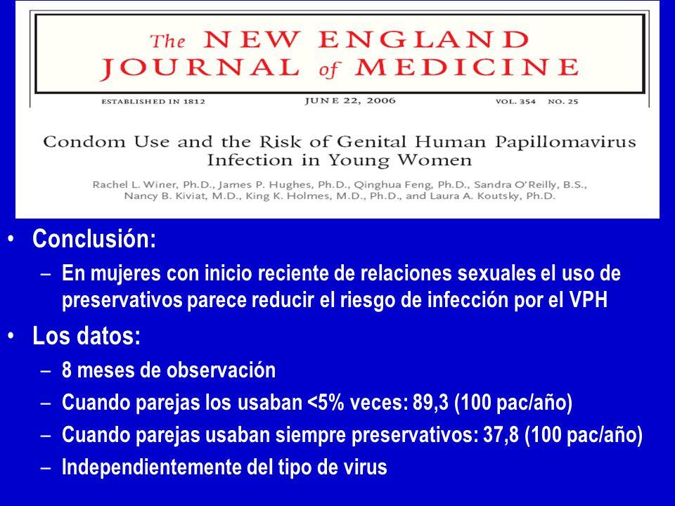 Conclusión: – En mujeres con inicio reciente de relaciones sexuales el uso de preservativos parece reducir el riesgo de infección por el VPH Los datos: – 8 meses de observación – Cuando parejas los usaban <5% veces: 89,3 (100 pac/año) – Cuando parejas usaban siempre preservativos: 37,8 (100 pac/año) – Independientemente del tipo de virus
