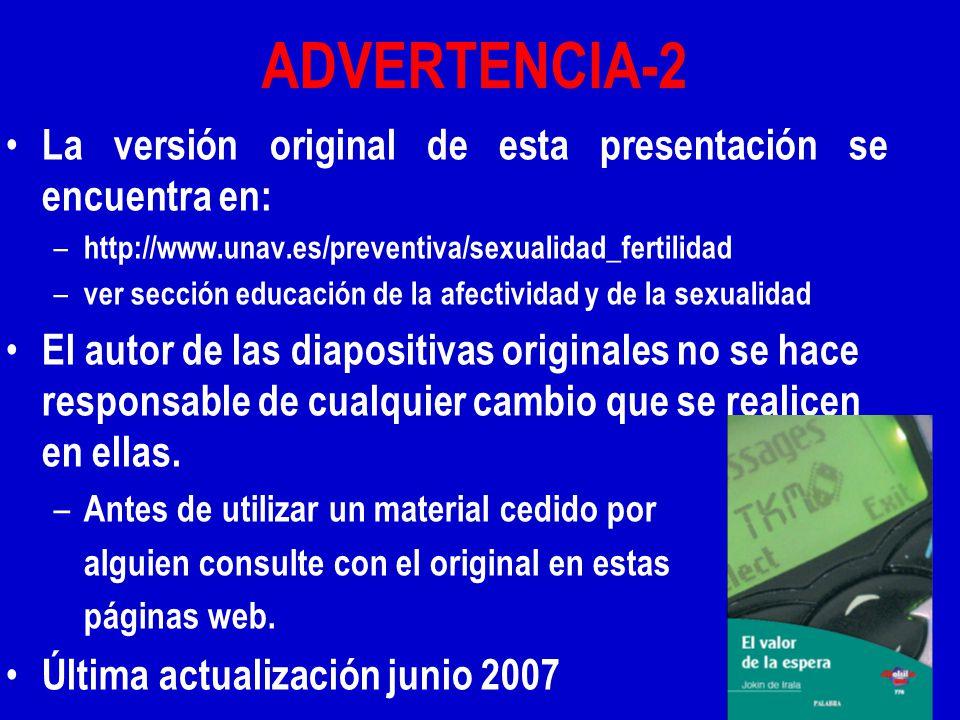 ADVERTENCIA-2 La versión original de esta presentación se encuentra en: – http://www.unav.es/preventiva/sexualidad_fertilidad – ver sección educación de la afectividad y de la sexualidad El autor de las diapositivas originales no se hace responsable de cualquier cambio que se realicen en ellas.