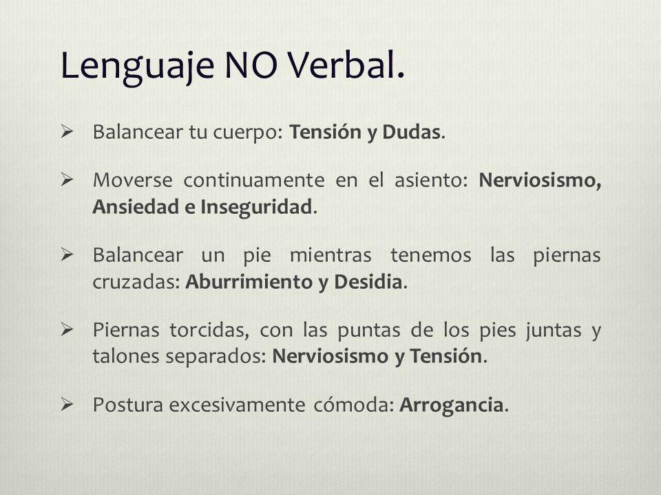 Lenguaje NO Verbal.  Balancear tu cuerpo: Tensión y Dudas.