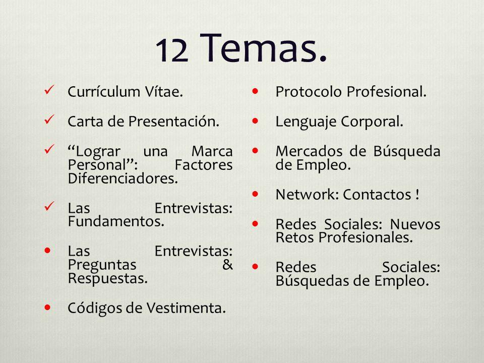 12 Temas. Currículum Vítae. Carta de Presentación.
