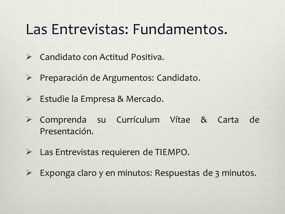 Las Entrevistas: Fundamentos.  Candidato con Actitud Positiva.