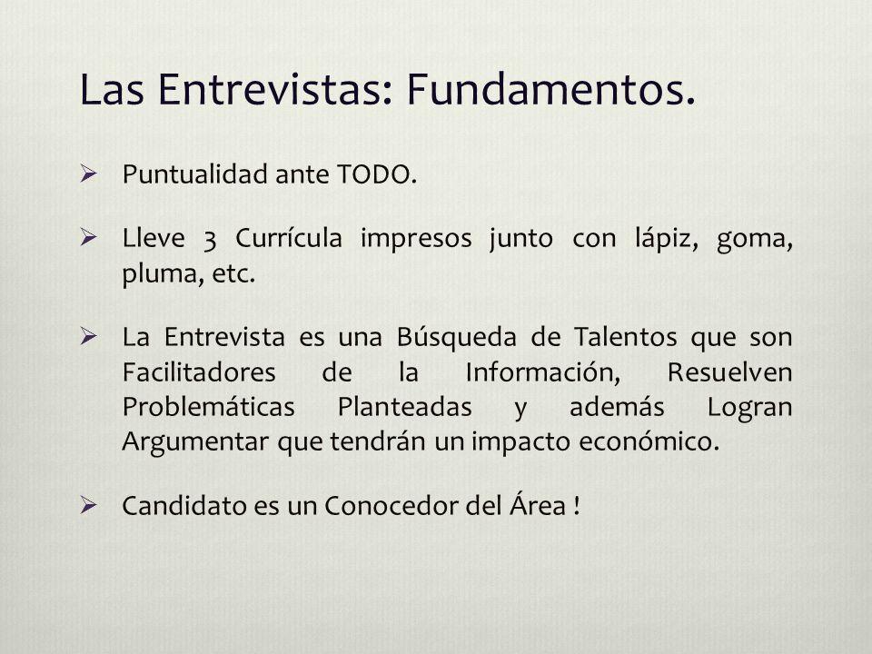 Las Entrevistas: Fundamentos.  Puntualidad ante TODO.