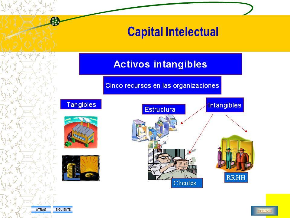 Capital Intelectual Conjunto de activos de una sociedad que, pese a no estar reflejados en los estados contables tradicionales, generan o generarán valor para la empresa en el futuro ATRAS SIGUIENTE cerrar