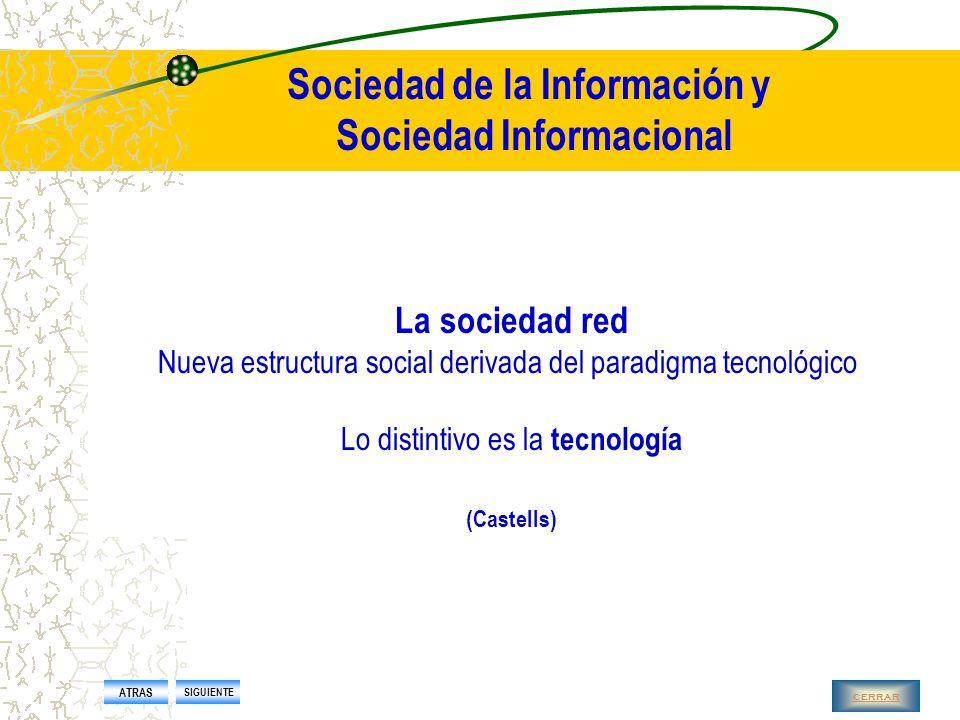 Sociedad de la Información y Sociedad Informacional La sociedad informacional es  emergente  es una nueva manera de organizarse en torno a la generación proceso y transferencia de información como principal fuente de competitividad y productividad ATRAS SIGUIENTE cerrar