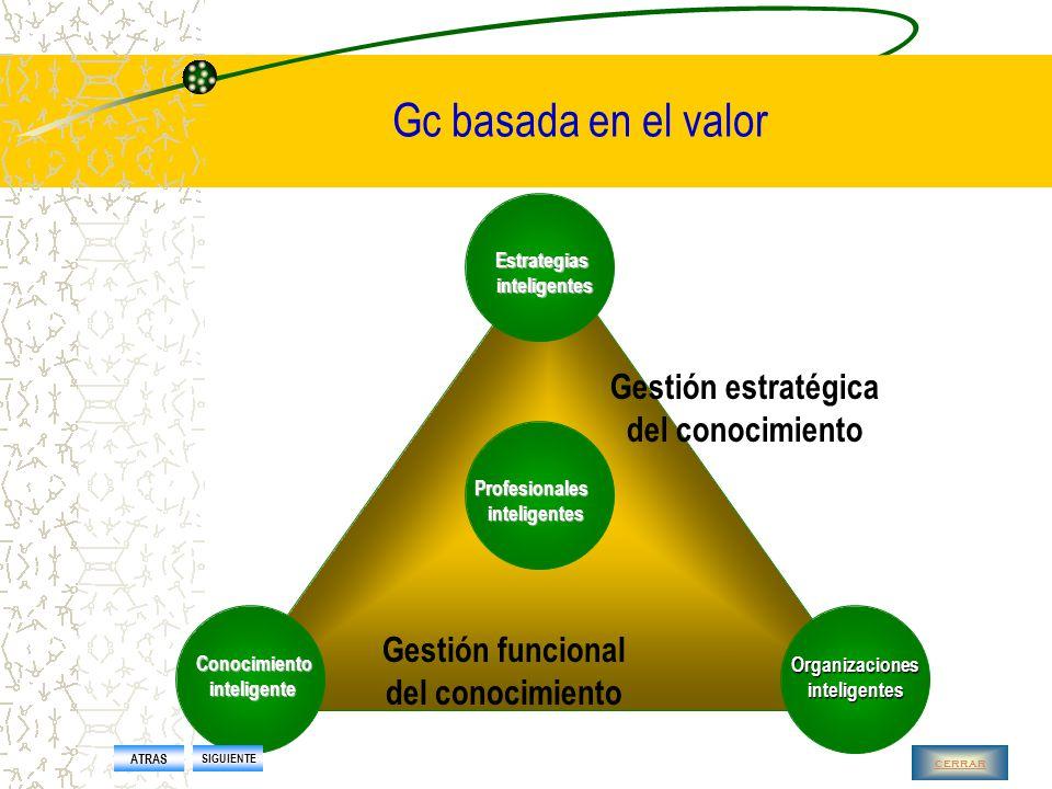 Gc basada en el valor Capacidades básicas para añadir valor Capacidad de producción Capacidad de respuesta Capacidad de anticipación Capacidad para crear conocimiento Capacidad para aprender Capacidad para mantener el capital intelectual ATRAS SIGUIENTE cerrar