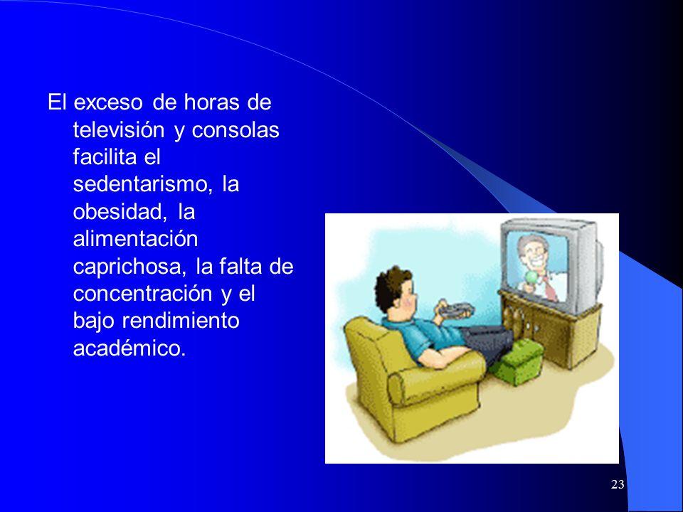 23 El exceso de horas de televisión y consolas facilita el sedentarismo, la obesidad, la alimentación caprichosa, la falta de concentración y el bajo rendimiento académico.