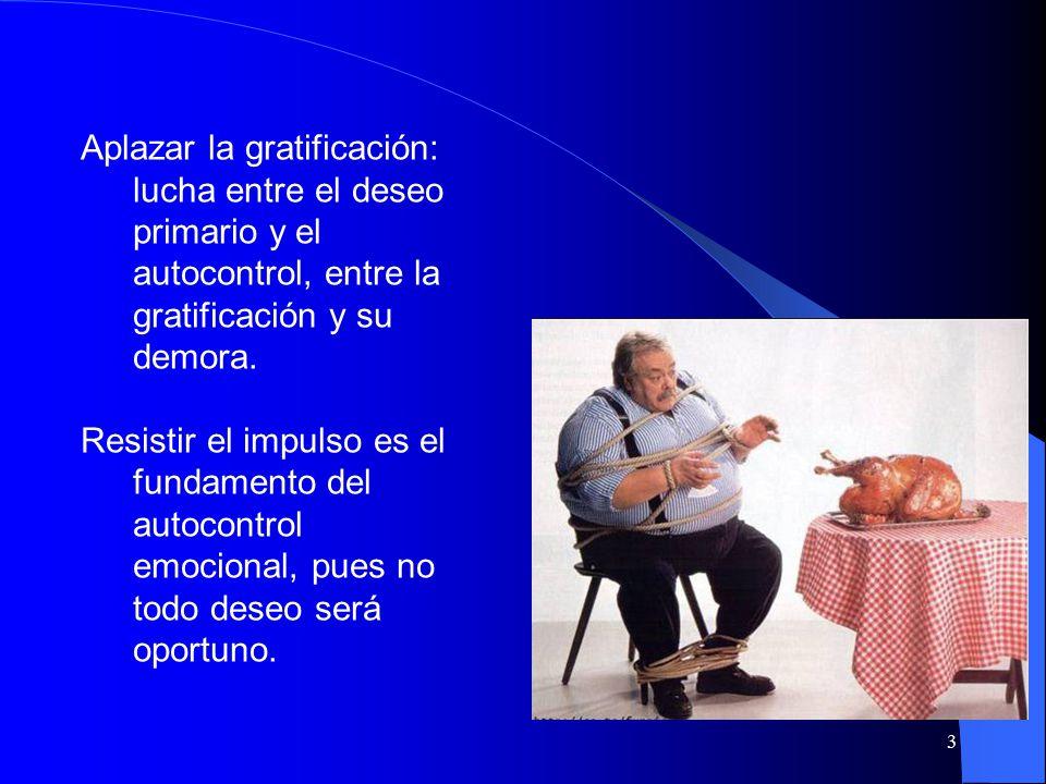 3 Aplazar la gratificación: lucha entre el deseo primario y el autocontrol, entre la gratificación y su demora.