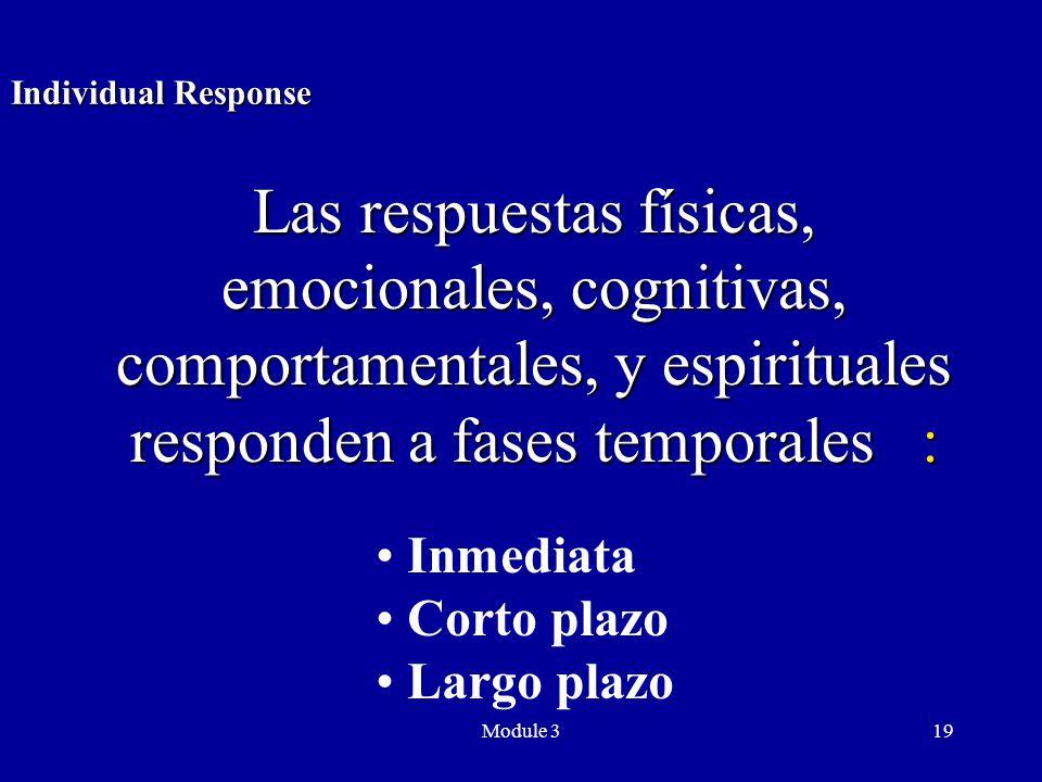 Module 319 Inmediata Corto plazo Largo plazo Individual Response Las respuestas físicas, emocionales, cognitivas, comportamentales, y espirituales responden a fases temporales :