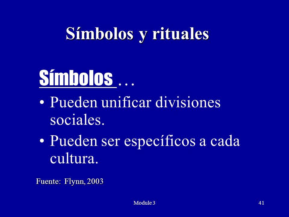 Module 341 Símbolos y rituales Símbolos … Pueden unificar divisiones sociales.
