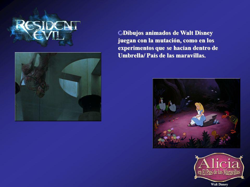 Walt Disney Dibujos animados de Walt Disney juegan con la mutación, como en los experimentos que se hacían dentro de Umbrella/ País de las maravillas.