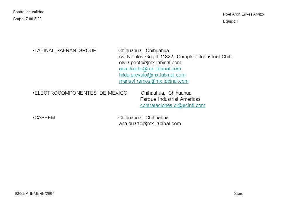 Control de calidad Grupo: 7:00-8:00 Noel Aron Erives Arvizo Equipo 1 03/SEPTIEMBRE/2007Stars LABINAL SAFRAN GROUP Chihuahua, Chihuahua Av.