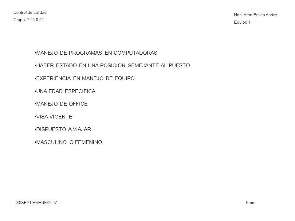 Control de calidad Grupo: 7:00-8:00 Noel Aron Erives Arvizo Equipo 1 03/SEPTIEMBRE/2007Stars MANEJO DE PROGRAMAS EN COMPUTADORAS HABER ESTADO EN UNA POSICION SEMEJANTE AL PUESTO EXPERIENCIA EN MANEJO DE EQUIPO UNA EDAD ESPECIFICA MANEJO DE OFFICE VISA VIGENTE DISPUESTO A VIAJAR MASCULINO O FEMENINO