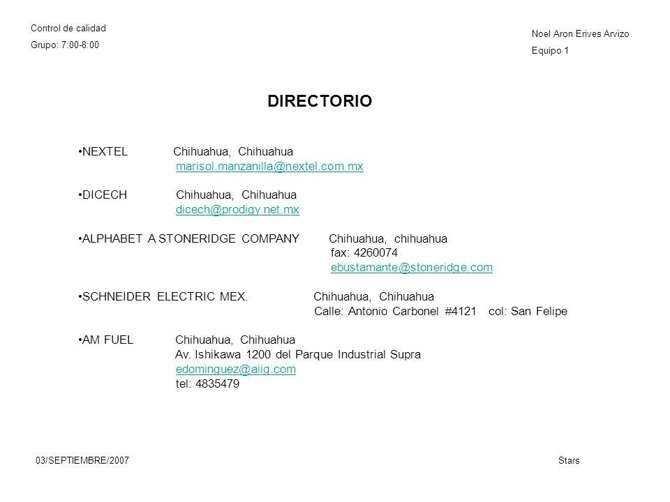 Control de calidad Grupo: 7:00-8:00 Noel Aron Erives Arvizo Equipo 1 03/SEPTIEMBRE/2007Stars NEXTEL Chihuahua, Chihuahua marisol.manzanilla@nextel.com.mx DICECH Chihuahua, Chihuahua dicech@prodigy.net.mx ALPHABET A STONERIDGE COMPANY Chihuahua, chihuahua fax: 4260074 ebustamante@stoneridge.com SCHNEIDER ELECTRIC MEX.