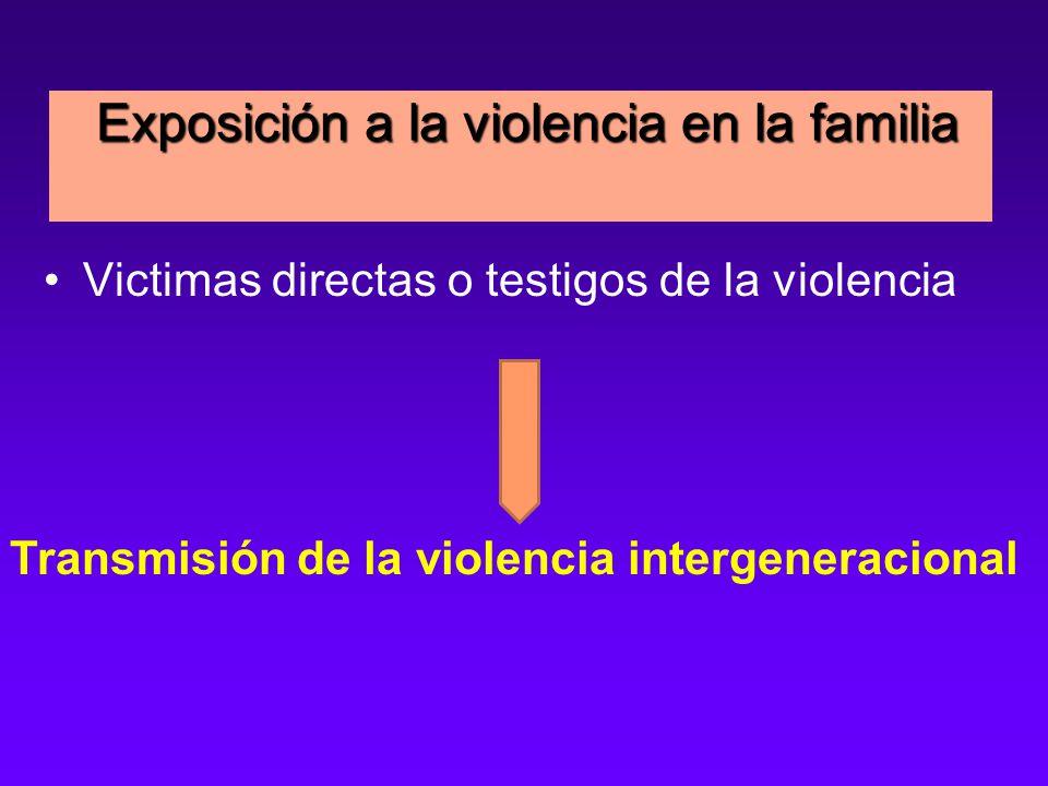 Exposición a la violencia en la familia Exposición a la violencia en la familia Victimas directas o testigos de la violencia Transmisión de la violencia intergeneracional