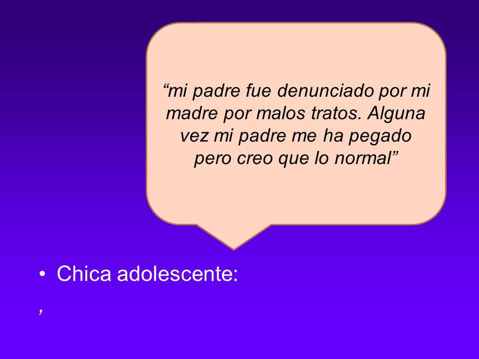 Chica adolescente:, mi padre fue denunciado por mi madre por malos tratos.