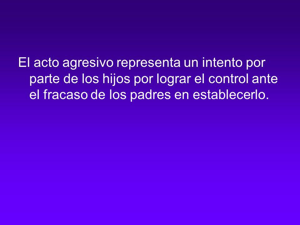 El acto agresivo representa un intento por parte de los hijos por lograr el control ante el fracaso de los padres en establecerlo.