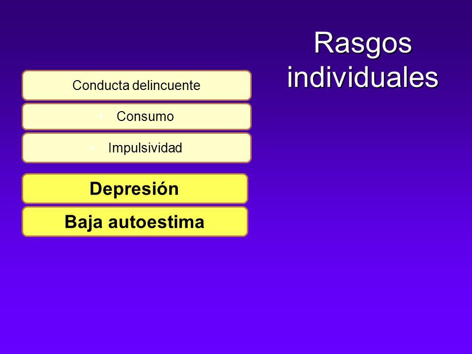 Rasgos individuales Conducta delincuente Consumo Impulsividad Depresión Baja autoestima