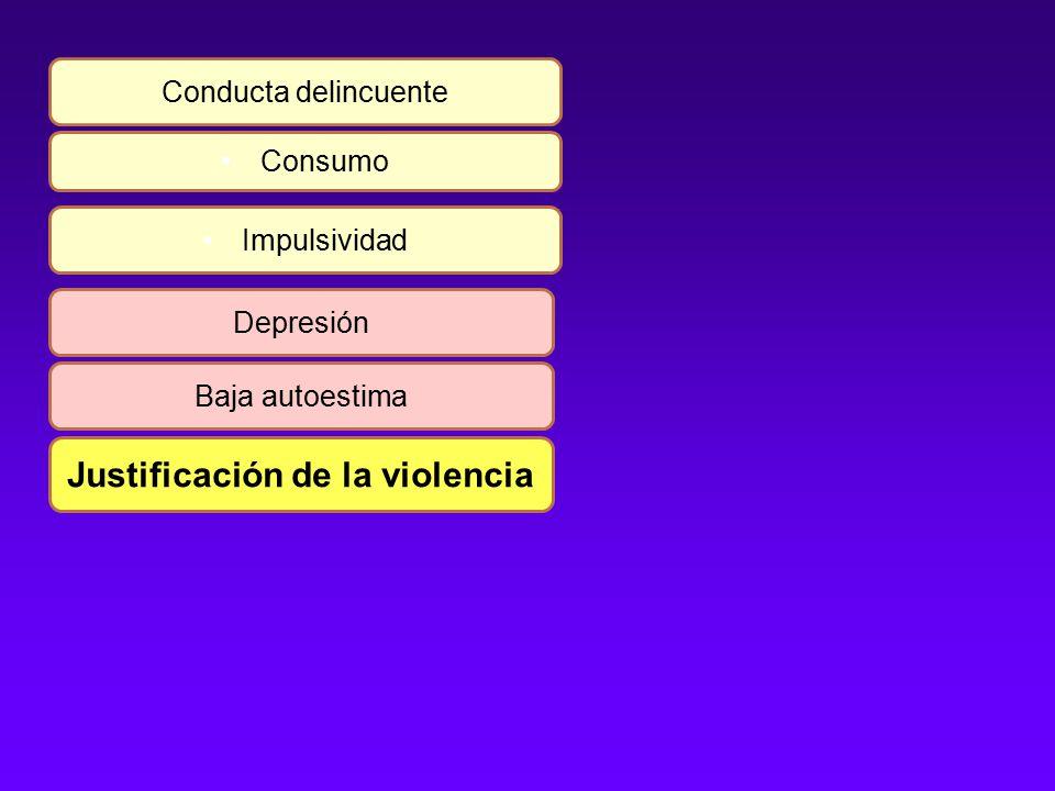 Conducta delincuente Consumo Impulsividad Depresión Baja autoestima Justificación de la violencia