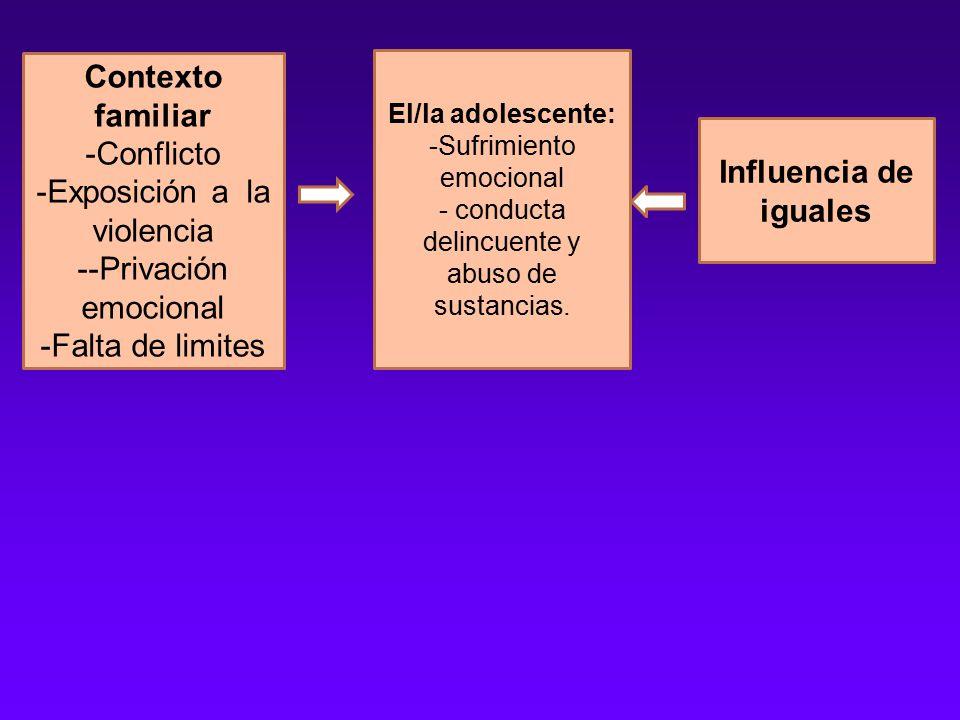 Contexto familiar -Conflicto -Exposición a la violencia --Privación emocional -Falta de limites El/la adolescente: -Sufrimiento emocional - conducta delincuente y abuso de sustancias.