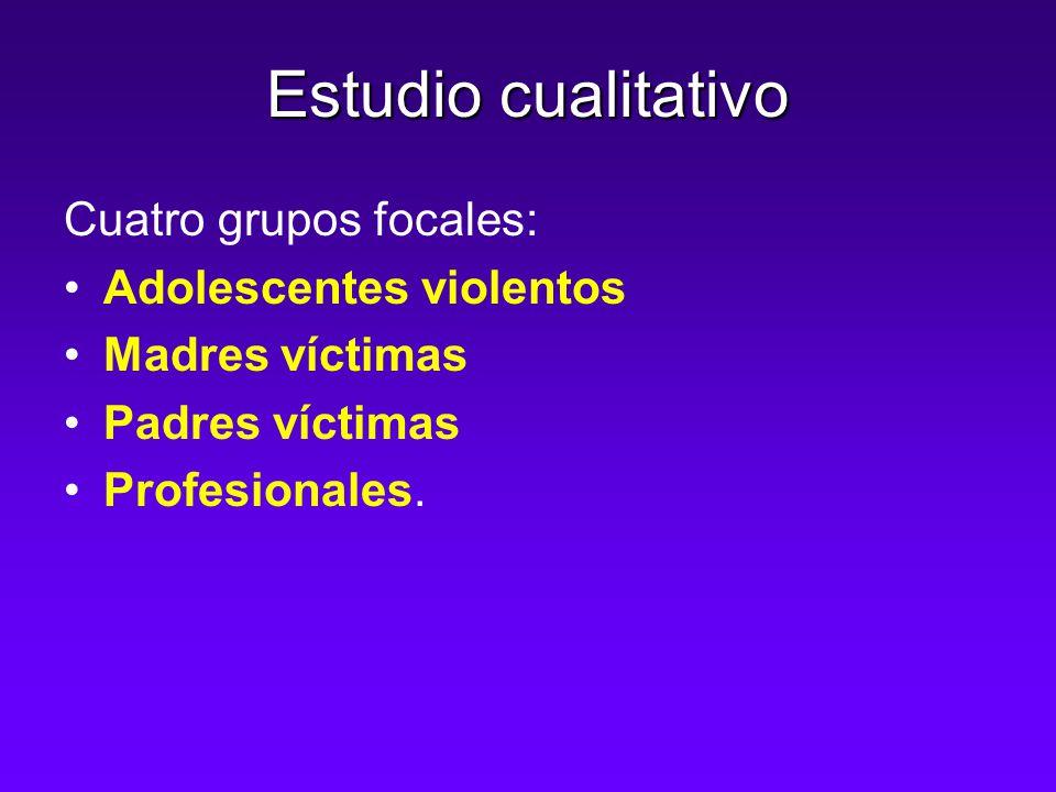 Estudio cualitativo Cuatro grupos focales: Adolescentes violentos Madres víctimas Padres víctimas Profesionales.