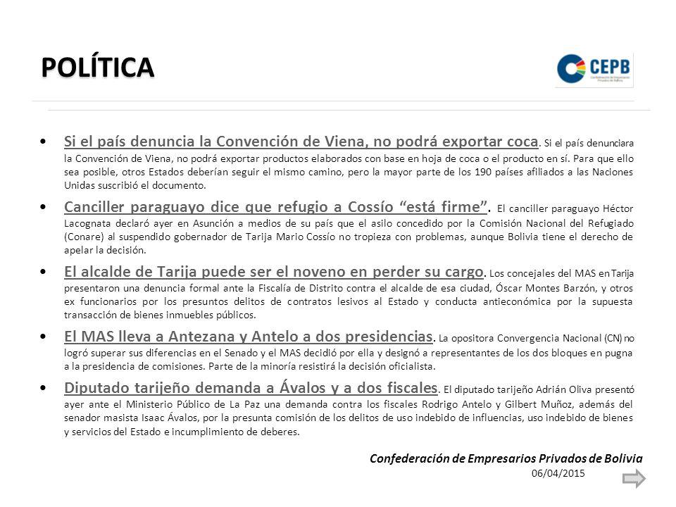 POLÍTICA Si el país denuncia la Convención de Viena, no podrá exportar coca.