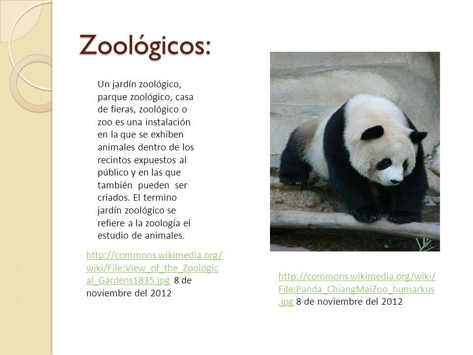 Zoológicos: Un jardín zoológico, parque zoológico, casa de fieras, zoológico o zoo es una instalación en la que se exhiben animales dentro de los recintos expuestos al público y en las que también pueden ser criados.