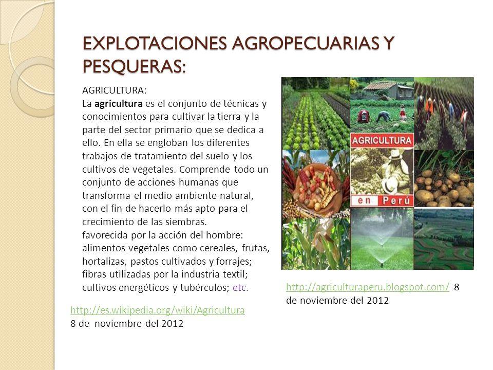 EXPLOTACIONES AGROPECUARIAS Y PESQUERAS: AGRICULTURA: La agricultura es el conjunto de técnicas y conocimientos para cultivar la tierra y la parte del sector primario que se dedica a ello.