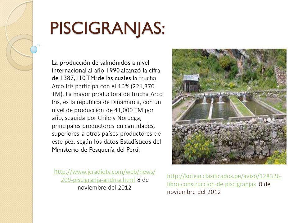 PISCIGRANJAS: http://kotear.clasificados.pe/aviso/128326- libro-construccion-de-piscigranjashttp://kotear.clasificados.pe/aviso/128326- libro-construccion-de-piscigranjas 8 de noviembre del 2012 La producción de salmónidos a nivel internacional al año 1990 alcanzó la cifra de 1387,110 TM; de las cuales la trucha Arco Iris participa con el 16% (221,370 TM).