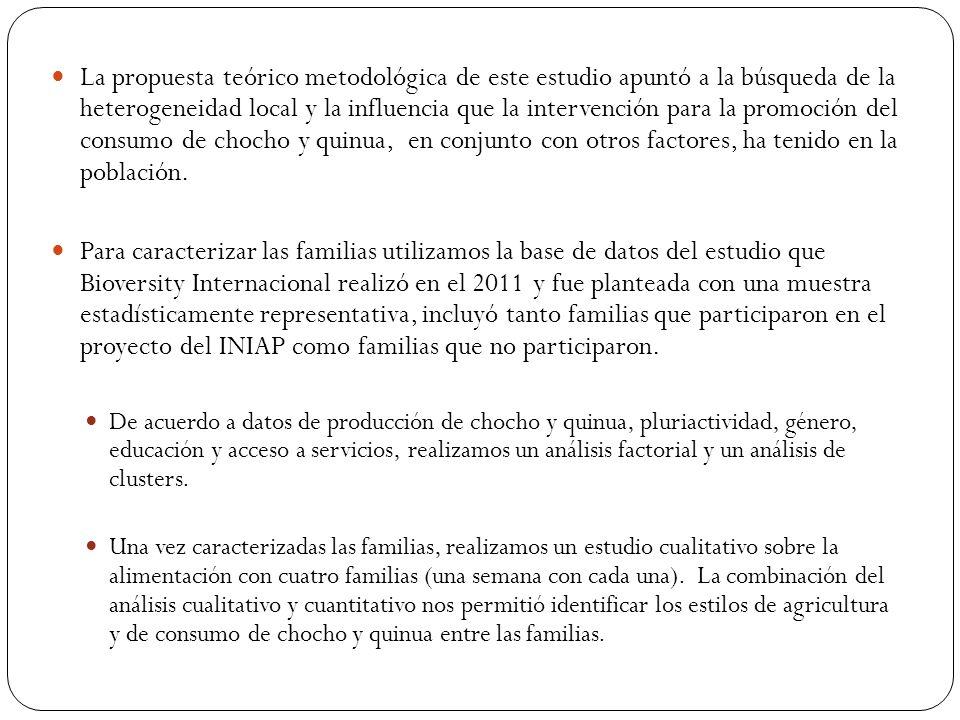 La propuesta teórico metodológica de este estudio apuntó a la búsqueda de la heterogeneidad local y la influencia que la intervención para la promoción del consumo de chocho y quinua, en conjunto con otros factores, ha tenido en la población.