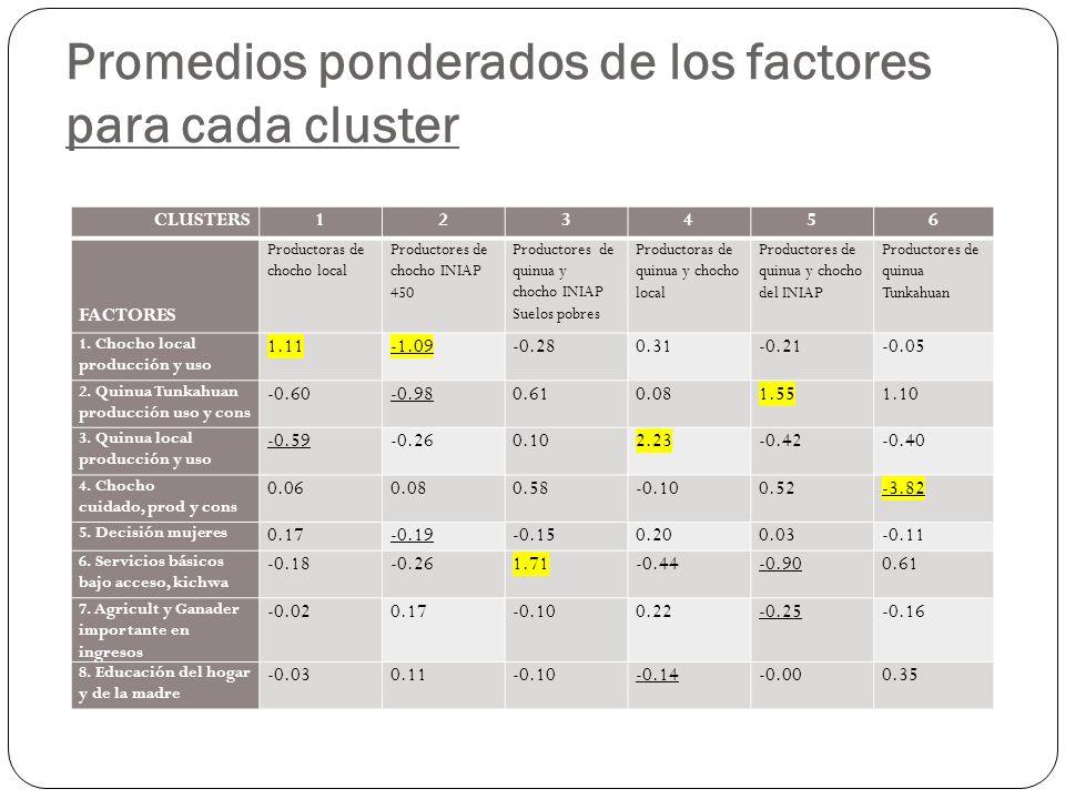 Promedios ponderados de los factores para cada cluster CLUSTERS123456 FACTORES Productoras de chocho local Productores de chocho INIAP 450 Productores de quinua y chocho INIAP Suelos pobres Productoras de quinua y chocho local Productores de quinua y chocho del INIAP Productores de quinua Tunkahuan 1.