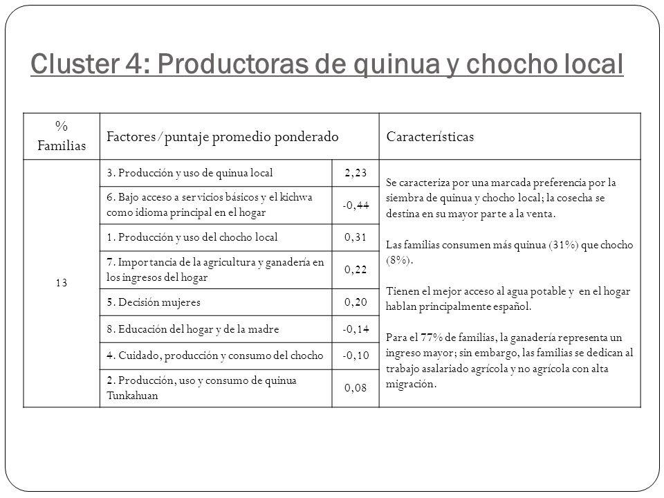 Cluster 4: Productoras de quinua y chocho local % Familias Factores/puntaje promedio ponderadoCaracterísticas 13 3.