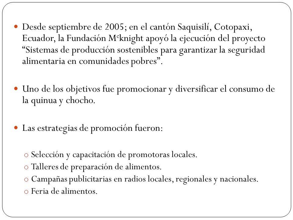 Desde septiembre de 2005; en el cantón Saquisilí, Cotopaxi, Ecuador, la Fundación M c knight apoyó la ejecución del proyecto Sistemas de producción sostenibles para garantizar la seguridad alimentaria en comunidades pobres .