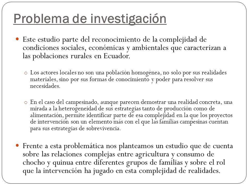 Problema de investigación Este estudio parte del reconocimiento de la complejidad de condiciones sociales, económicas y ambientales que caracterizan a las poblaciones rurales en Ecuador.