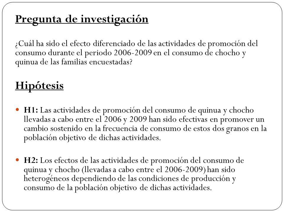 Pregunta de investigación ¿Cuál ha sido el efecto diferenciado de las actividades de promoción del consumo durante el periodo 2006-2009 en el consumo de chocho y quinua de las familias encuestadas.