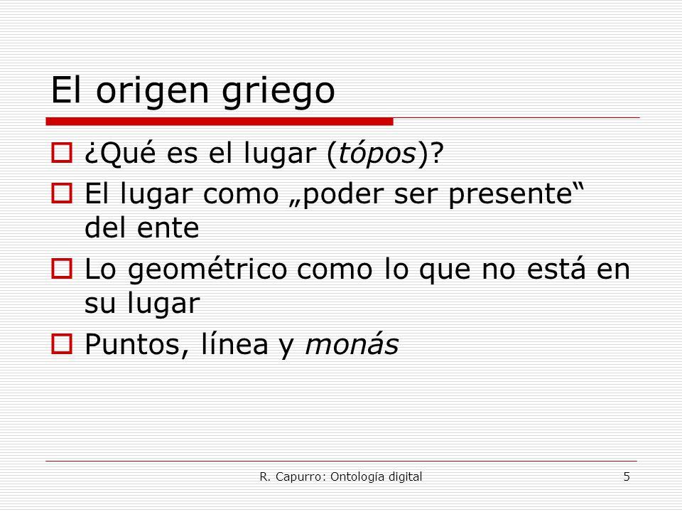 R. Capurro: Ontología digital5 El origen griego  ¿Qué es el lugar (tópos).