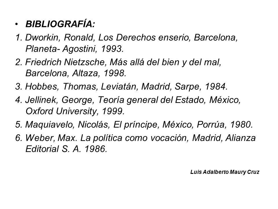BIBLIOGRAFÍA: 1. Dworkin, Ronald, Los Derechos enserio, Barcelona, Planeta- Agostini, 1993.