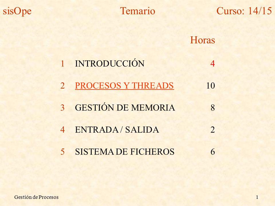 Gestión de Procesos1 Horas 1INTRODUCCIÓN4 2PROCESOS Y THREADS10 3GESTIÓN DE MEMORIA8 4ENTRADA / SALIDA2 5SISTEMA DE FICHEROS6 sisOpeTemarioCurso: 14/15