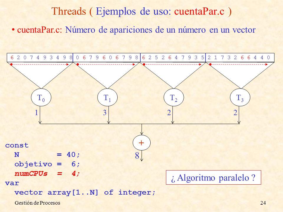 Threads ( Ejemplos de uso: cuentaPar.c ) cuentaPar.c: Número de apariciones de un número en un vector 6 2 0 7 4 9 3 4 9 8 0 6 7 9 6 0 6 7 9 8 6 2 5 2 6 4 7 9 3 5 2 1 7 3 2 6 6 4 4 0 const N = 40; objetivo = 6; numCPUs = 4; var vector array[1..N] of integer; ¿ Algoritmo paralelo .