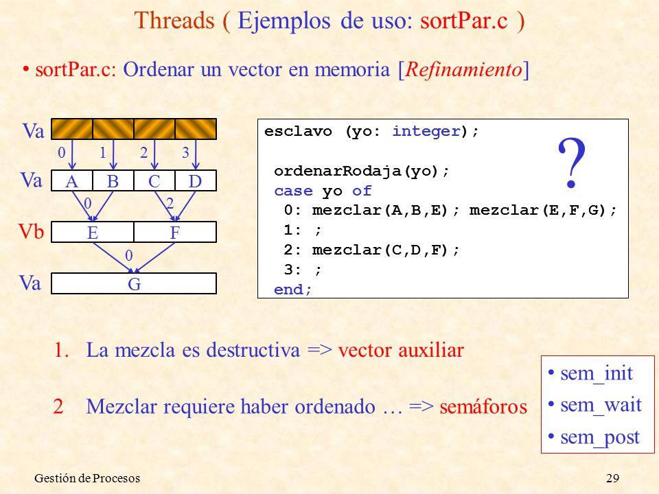 sortPar.c: Ordenar un vector en memoria [Refinamiento] ABCD EF G 0123 02 0 esclavo (yo: integer); ordenarRodaja(yo); case yo of 0: mezclar(A,B,E); mezclar(E,F,G); 1: ; 2: mezclar(C,D,F); 3: ; end; .