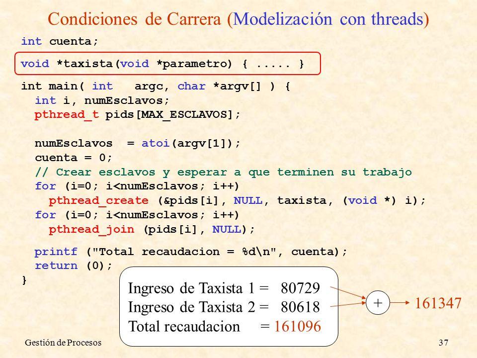 Gestión de Procesos37 Condiciones de Carrera (Modelización con threads) Ingreso de Taxista 1 = 80729 Ingreso de Taxista 2 = 80618 Total recaudacion = 161096 + 161347 int cuenta; void *taxista(void *parametro) {.....