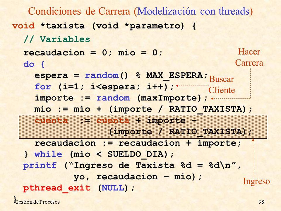 Gestión de Procesos38 Ingreso Condiciones de Carrera (Modelización con threads) void *taxista (void *parametro) { // Variables recaudacion = 0; mio = 0; do { espera = random() % MAX_ESPERA; for (i=1; i<espera; i++); importe := random (maxImporte); mio := mio + (importe / RATIO_TAXISTA); cuenta := cuenta + importe – (importe / RATIO_TAXISTA); recaudacion := recaudacion + importe; } while (mio < SUELDO_DIA); printf ( Ingreso de Taxista %d = %d\n , yo, recaudacion – mio); pthread_exit (NULL); } Hacer Carrera Buscar Cliente