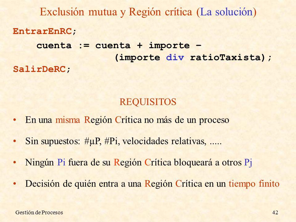 Gestión de Procesos42 Exclusión mutua y Región crítica (La solución) EntrarEnRC; cuenta := cuenta + importe – (importe div ratioTaxista); SalirDeRC; REQUISITOS En una misma Región Crítica no más de un proceso Sin supuestos: #µP, #Pi, velocidades relativas,.....