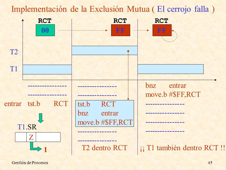 Gestión de Procesos45 Implementación de la Exclusión Mutua ( El cerrojo falla ) T1 T2 00 RCT ---------------- entrartst.bRCT ---------------- tst.bRCT bnzentrar move.b#$FF,RCT ---------------- T1.SR Z 1 FF RCT T2 dentro RCT bnzentrar move.b#$FF,RCT ---------------- FF RCT ¡¡ T1 también dentro RCT !!