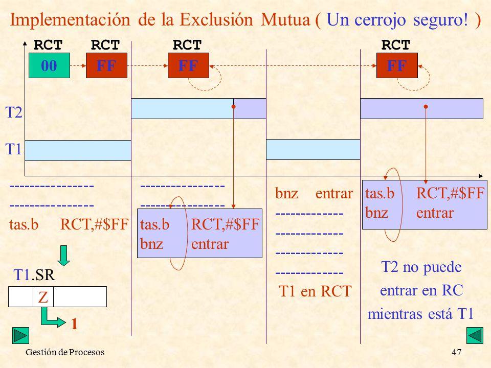 Gestión de Procesos47 Implementación de la Exclusión Mutua ( Un cerrojo seguro.
