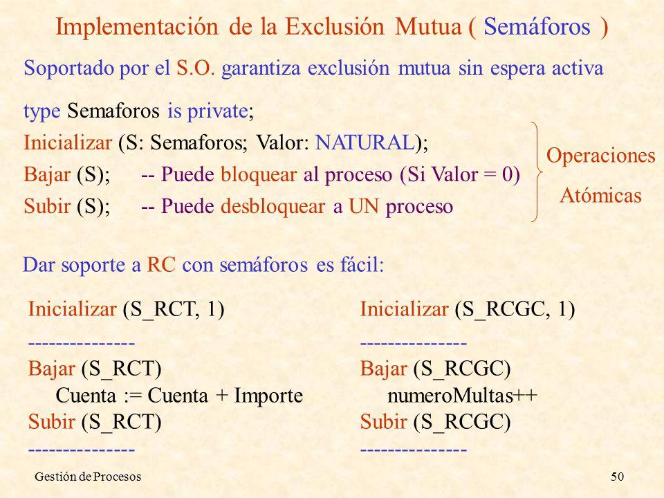 Gestión de Procesos50 Implementación de la Exclusión Mutua ( Semáforos ) Soportado por el S.O.