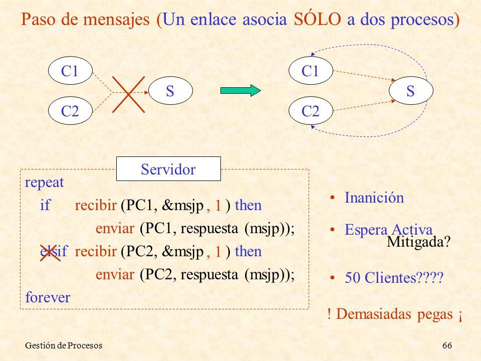 Gestión de Procesos66 Paso de mensajes (Un enlace asocia SÓLO a dos procesos) C1 C2 S C1 C2 S repeat ifrecibir (PC1, &msjp ) then enviar (PC1, respuesta (msjp)); elsifrecibir (PC2, &msjp ) then enviar (PC2, respuesta (msjp)); forever Servidor Inanición Espera Activa, 1 Mitigada.