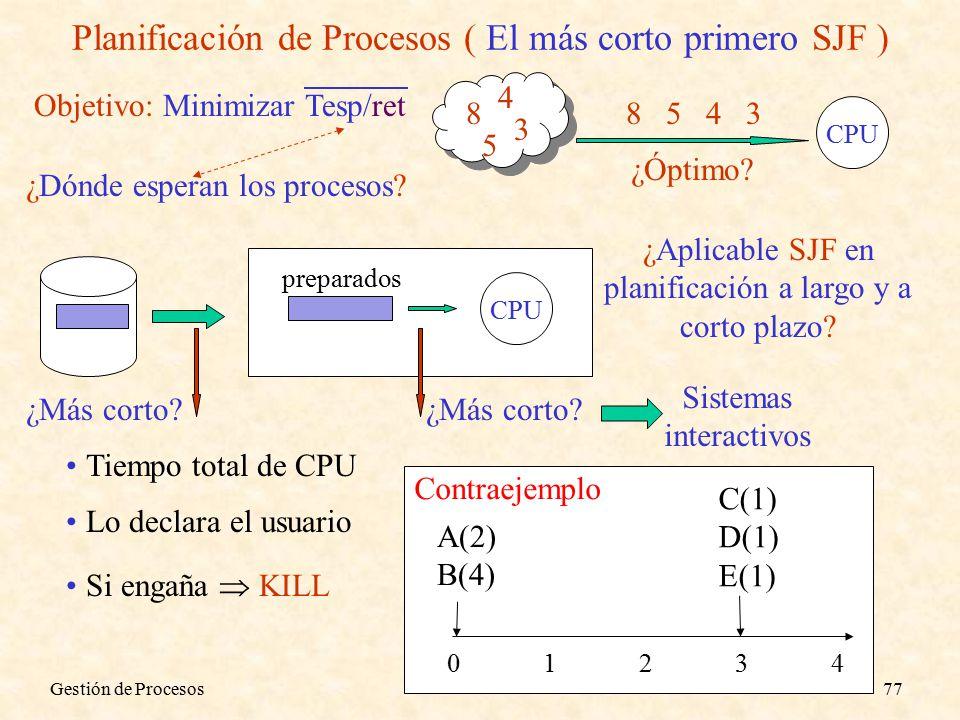 Gestión de Procesos77 Planificación de Procesos ( El más corto primero SJF ) Objetivo: Minimizar Tesp/ret 8 5 4 3 CPU 3458 ¿Óptimo.