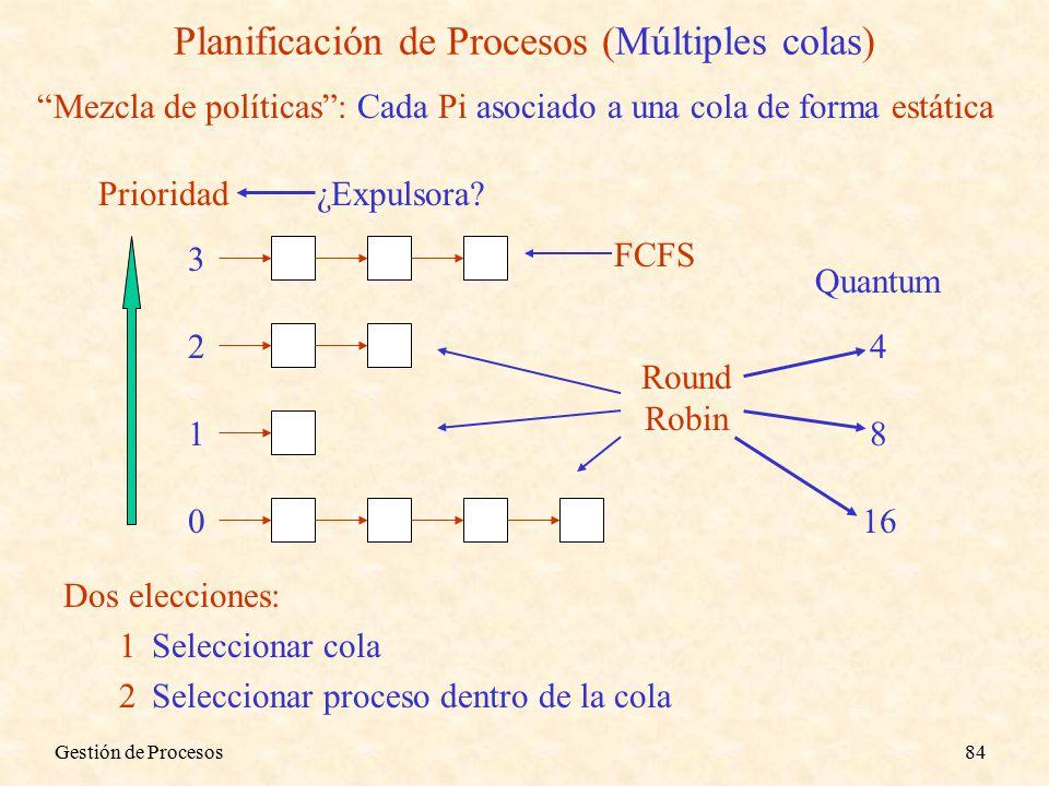 Gestión de Procesos84 Planificación de Procesos (Múltiples colas) Mezcla de políticas : Cada Pi asociado a una cola de forma estática Prioridad 3 2 1 0 FCFS Round Robin Quantum 4 8 16 Dos elecciones: 1Seleccionar cola 2Seleccionar proceso dentro de la cola ¿Expulsora